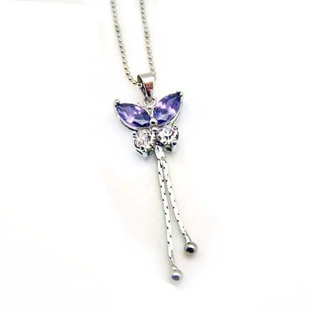 飄逸蝴蝶彩色水鑽項鍊