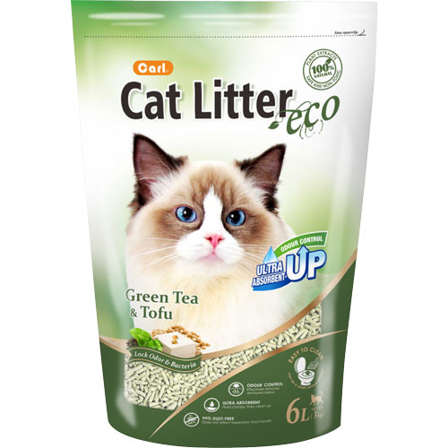 【寵物王國】CARL卡爾-環保豆腐貓砂(綠茶)6L x6包免運超值組