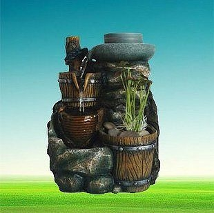 歐式美式樹脂流水工藝品 田園風格 加濕器 木桶石磨水草噴泉