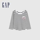 Gap女幼童 史努比聯名長袖T恤 883862-黑白條紋