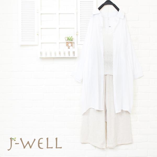 J-WELL 輕薄條紋長襯衫內搭線衫背心棉麻寬褲三件組  (組合A28 8J1463F+8J1479白F+8J1477卡其F)