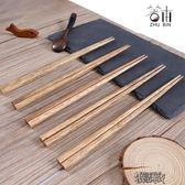 筷子家用實木家庭裝天然櫟木防滑防霉創意個性10雙尖頭日式筷 街頭布衣