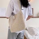 大包包女2020新款潮夏天小清新單肩包大容量編織草編包網紅腋下包  一米陽光