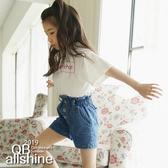 女童上衣 字母加框百搭短袖T恤 韓國外貿中大童 QB allshine