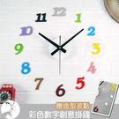 時尚壁貼DIY掛鐘 彩色全立體數字贈波點刻度款造型靜音時鐘 簡約北歐清新店牆面時鐘-米鹿家居