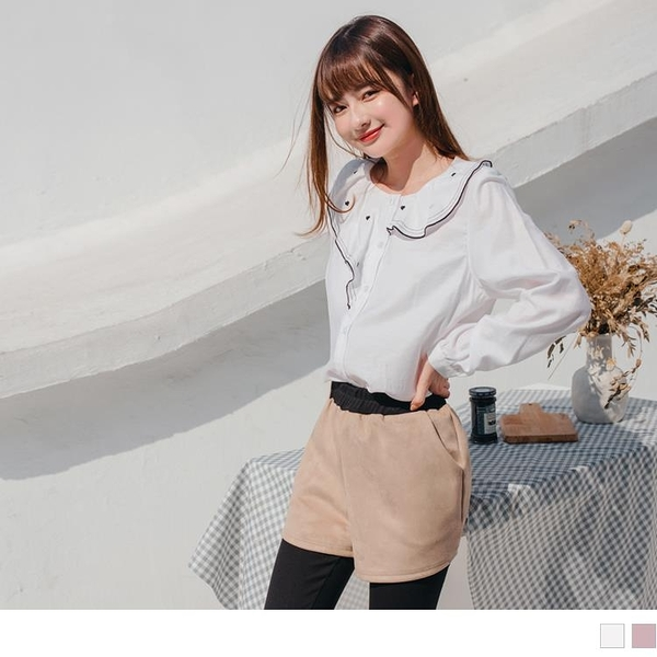 《AB14102-》甜美不對稱造型領愛心刺繡襯衫/上衣 OB嚴選