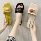 網紅涼拖鞋女外出可愛ins潮夏天外穿時尚2021新款夏季百搭一字拖 蘿莉新品