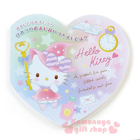 〔小禮堂〕Hello Kitty 日製心型便條紙《粉.站姿.鑰匙.魔法帽.懷錶》水溶紙5枚4901610-69031