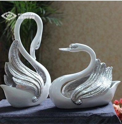 歐式天鵝擺件 創意家居飾品裝飾擺件禮品 客廳婚慶結婚禮物工藝品一對