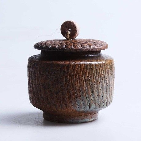 日式茶具 手工粗陶茶葉罐
