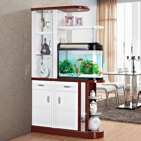 玄關櫃 入戶帶魚缸玄關櫃酒櫃隔斷雙面間廳櫃客廳玄關隔斷櫃門廳櫃屏風櫃