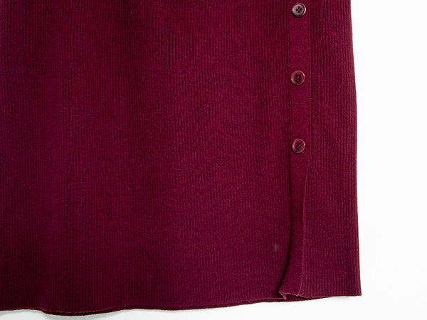 秋冬下殺↘5折[H2O]顯瘦羅紋前側邊開衩設計針織毛線中長裙 - 紅/黑/白/粉色 #9650004