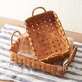 (交換禮物)野餐籃日式手工木片編織籃子收納籃藤把手水果面包籃野餐籃XW