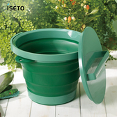 【nicegoods】日本ISETO 伸縮折疊式防滑水桶(附蓋)-8L粉綠