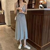 夏季2021新款韓版修身吊帶連身裙女開叉v領無袖氣質針織中長裙潮 伊蘿 99免運