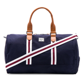 Hsin 85折 現貨 Herschel 高階  Novel 深藍 紅白 條紋 皮革提把 可放鞋 大容量 手提 側背 行李 旅行 提袋