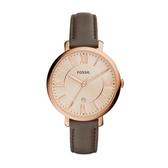 FOSSIL質感時尚羅馬玫瑰金腕錶/咖皮ES3707