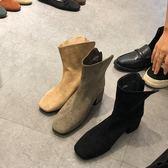 烏77 簡約純色絨面小方頭拉鍊小高跟輕熟加絨短靴踝靴女冬韓版
