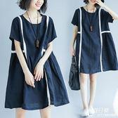 長裙 洋裝 大尺碼 女裝微mm寬鬆顯瘦短袖連衣裙200斤文藝范夏裝藏肉減齡裙子