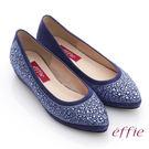 effie 濃情藝文 水鑽絨面羊皮內增高鞋 藍