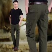 多口袋工裝褲男寬鬆戶外運動休閒長褲軍褲耐磨 ☸mousika