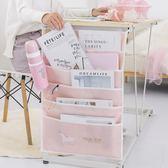 書桌課桌神器書掛袋中學生桌邊收納袋簡約少女大容量掛書袋 米娜小鋪
