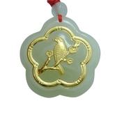 金鑲玉項鍊 和闐玉吊墜-精美喜鵲生日情人節禮物男女飾品73gf89[時尚巴黎]