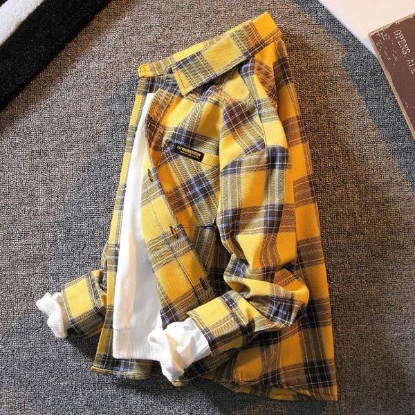 童裝男童春裝格子襯衫2021年新款兒童春秋純棉長袖洋氣襯衣男孩潮 艾瑞斯