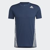 ADIDAS AEROREADY 3-STRIPES 男裝 短袖 慢跑 訓練 吸濕 排汗 合身 藍【運動世界】GM1066