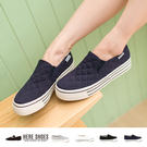 [Here Shoes]4色 嚴選格菱紋車線布料 3.5CM厚底增高休閒帆布鞋 懶人鞋─APTW855