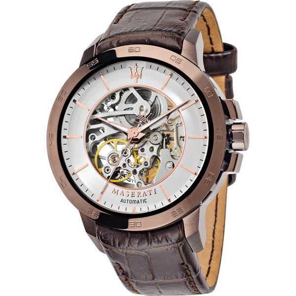 ★MASERATI WATCH★-瑪莎拉蒂手錶-紳士咖啡金機械錶-R8821119003-錶現精品公司-原廠正貨-鏡面保固一年