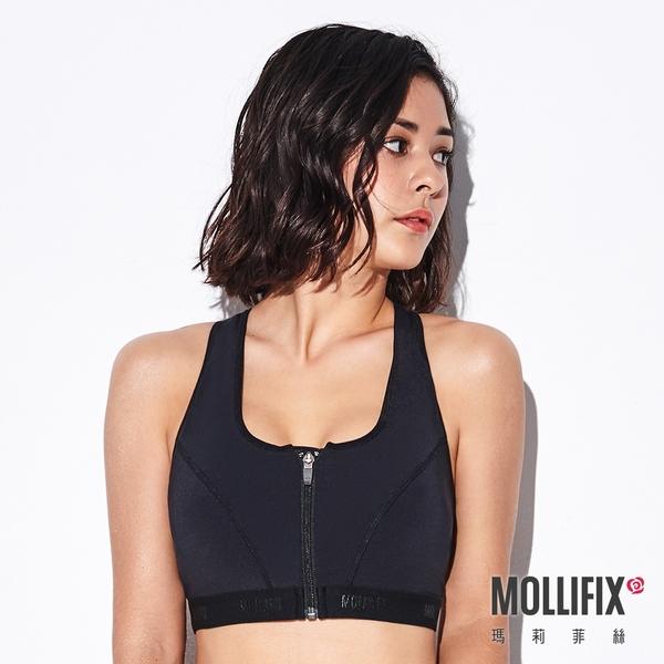 Mollifix 瑪莉菲絲 前扣高穩定下擺織帶運動內衣 (黑)