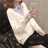 襯衫領毛衣女假兩件拼接打底針織衫套頭韓版寬鬆短款百搭上衣  『魔法鞋櫃』