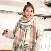 現貨 韓版保暖格子圍巾女秋冬百搭披肩雙面針織【櫻田川島】