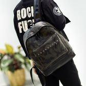 後背包 雙肩包韓版迷彩小背包撞色PU學生書包【非凡上品】j606