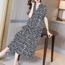 黑白條紋真絲洋裝/連衣裙女2021夏季新款大牌桑蠶絲寬鬆顯瘦遮肚子長裙 快速出貨