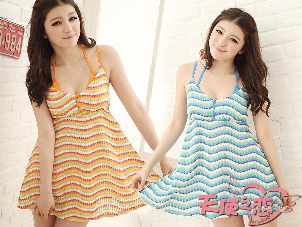 *╮天使之戀-泳裝館╭*SQ12019橘/藍 花漾甜心 三件式比基尼泳衣