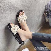 拖鞋 拖鞋女時尚女士一字拖平底花朵沙灘鞋外穿高跟厚底涼拖鞋夏季女鞋 古梵希