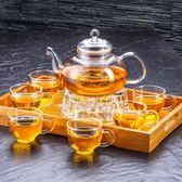 聚千義加厚玻璃功夫茶具套裝家用過濾耐熱玻璃泡茶花茶壺整套組合【販衣小築】