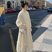 現貨 秋季氣質溫柔風法式初戀森系內搭打底蕾絲加絨白色洋裝仙女長裙【2021新春特惠】