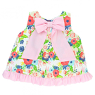 裙擺衣 RuffleButts 小童 大蝴蝶結無袖裙擺衣 無袖上衣 - 紅白藍綠花草/粉荷葉蝴蝶結 STWWH-EGBW