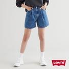 Levis 女款 Ribcage復古超高腰打摺牛仔短褲 / 精工中藍染水洗 / 天絲棉