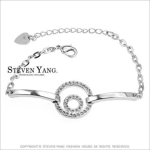 手鍊STEVEN YANG正白K飾 「雙圈晶鑽」晶亮時尚淑女 銀色三款任選