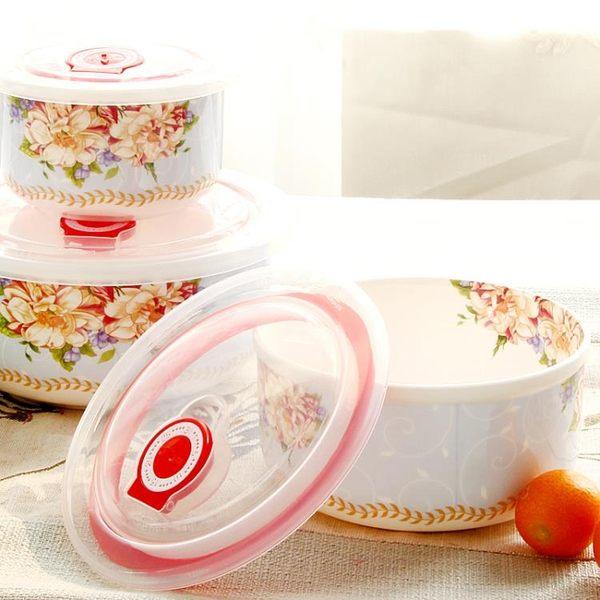 保鮮碗三件套微波爐碗帶蓋骨瓷面碗陶瓷便當碗帶蓋飯碗套裝WY