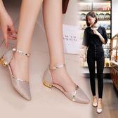 韓版百搭包頭羅馬涼鞋女夏季新款小清新亮片舒適低跟粗跟女鞋