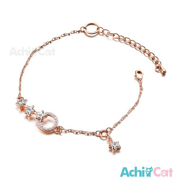 AchiCat 腳鍊 正白K 浪漫星空 星星 玫金白鋯 J015