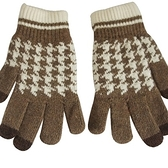 羊毛針織觸控手套-千鳥格針織防寒保暖男手套72q12[巴黎精品]