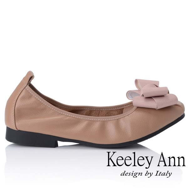 ★2018秋冬★Keeley Ann簡約百搭~立體蝴蝶結緞帶柔軟舒適娃娃鞋(駱駝色)