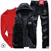 馬甲男金絲絨套裝秋冬季三件套運動休閒裝韓版潮加絨男士馬夾外套 向日葵生活館