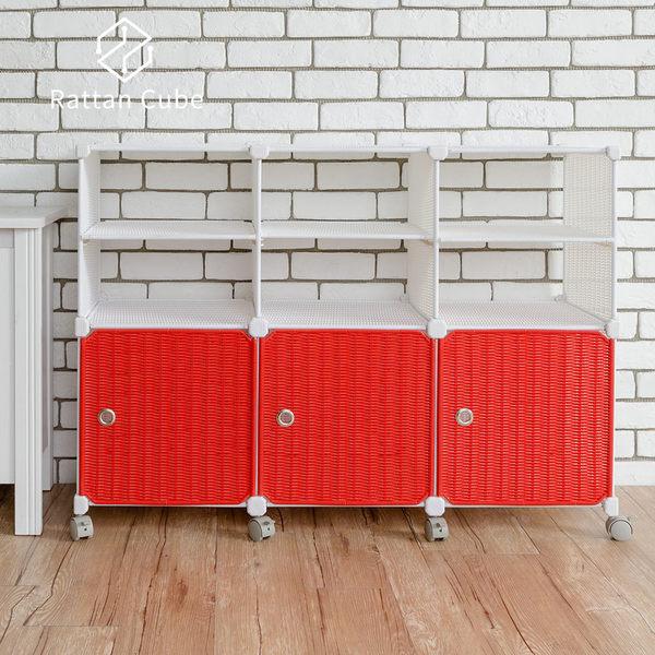 【藤立方】組合2層6格收納置物架(3門板+3隔板+附輪)-DIY